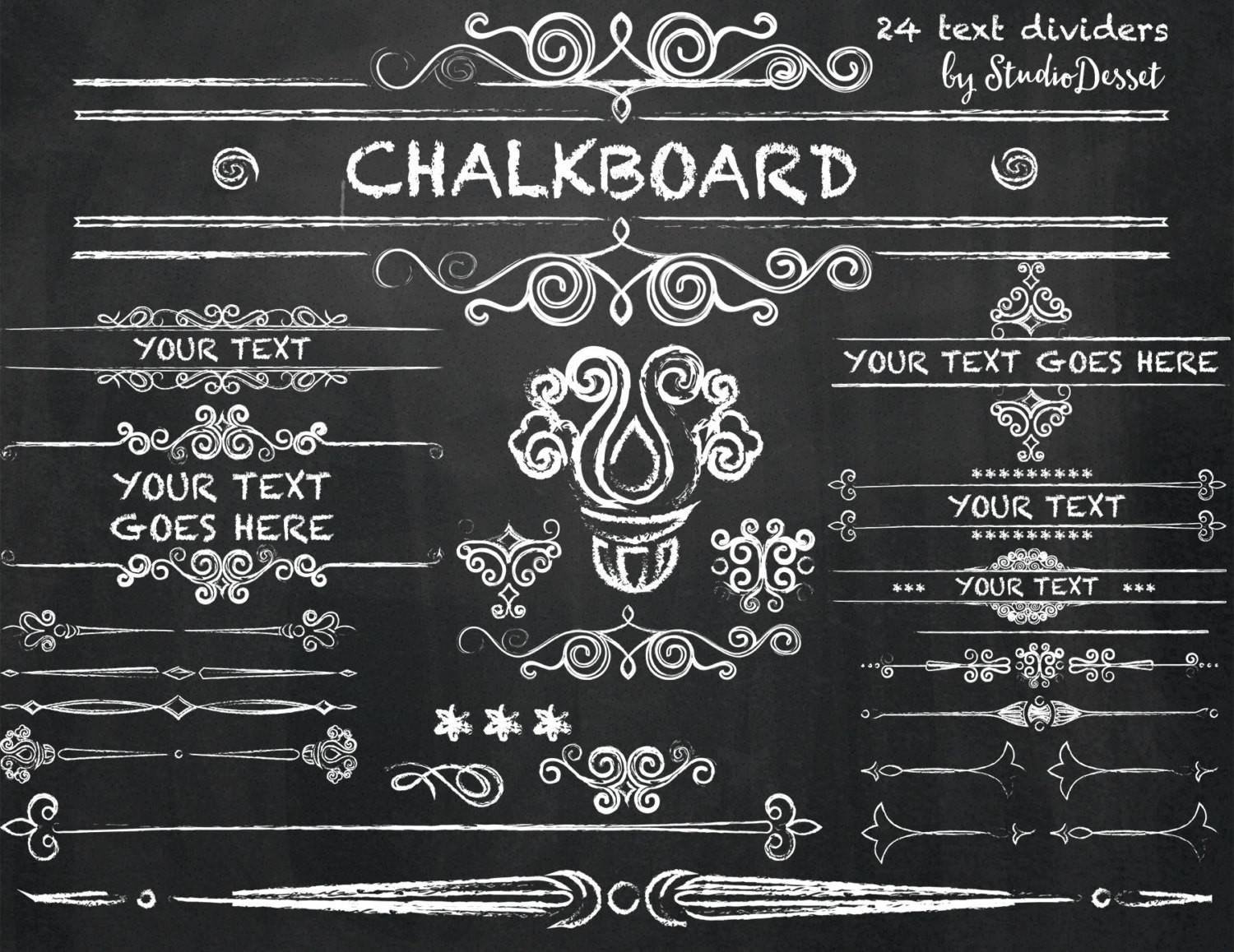 Chalkboard Cliparts Chalk Text Dividers Swirls Diy Wedding