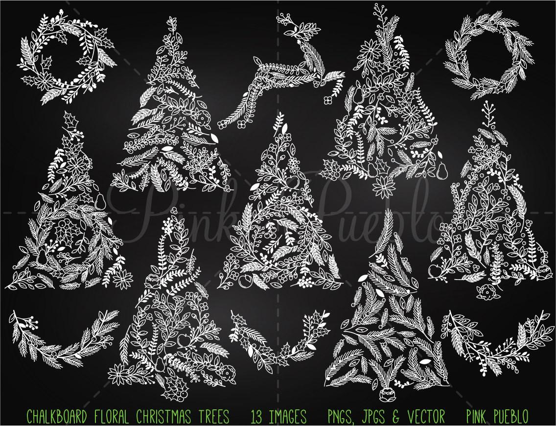 Chalkboard Floral Christmas Tree Clipart Clip Art