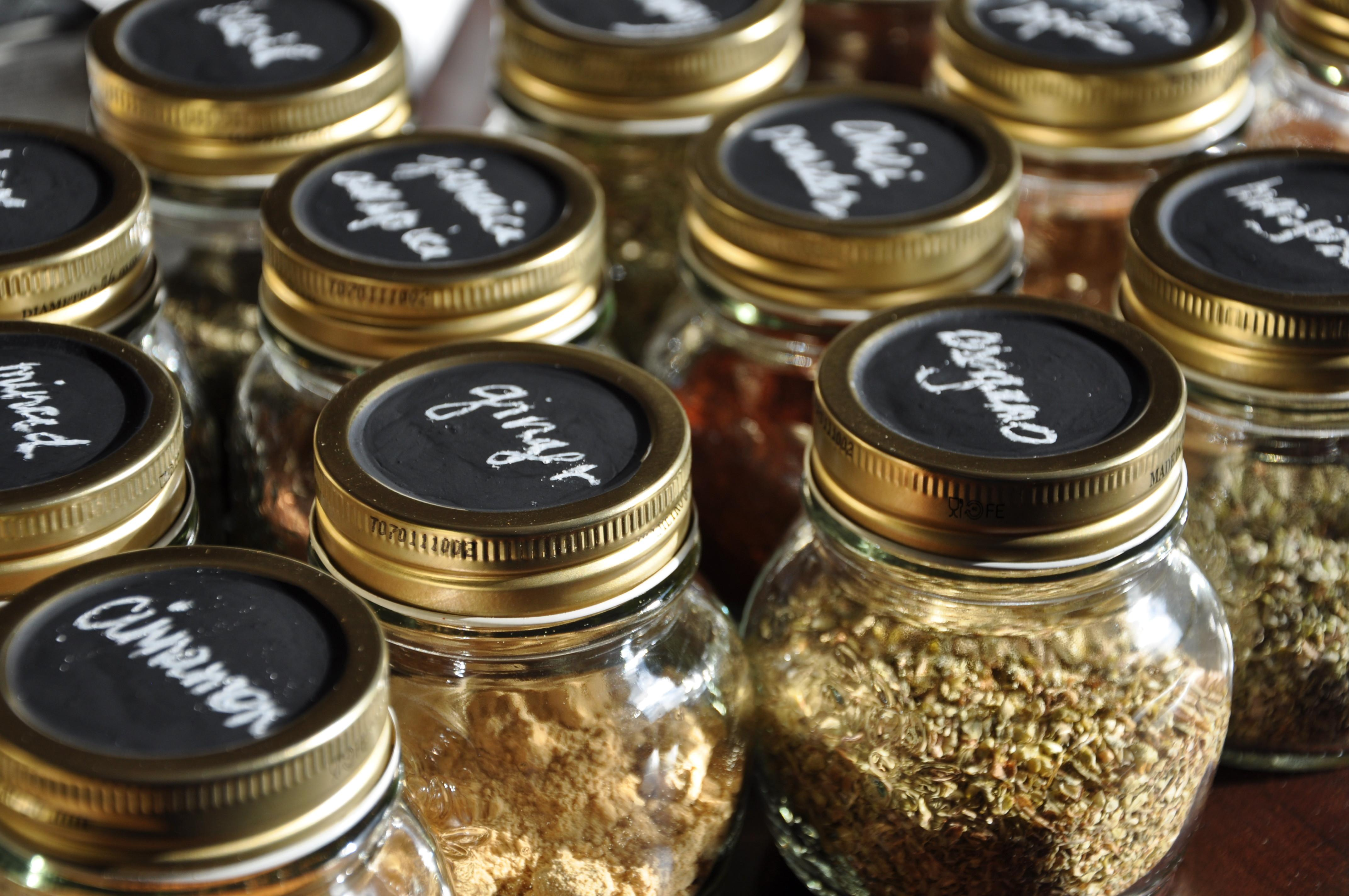 Chalkboard Labeled Spice Jars Shuffling Freckles