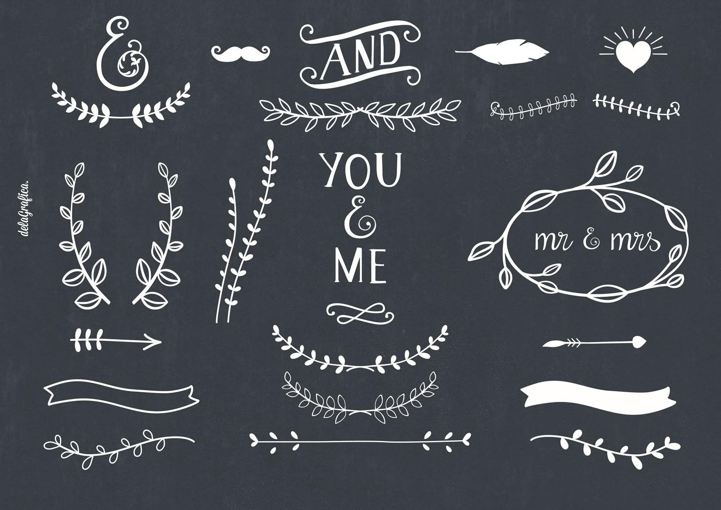 Chalkboard Laurels Ribbons Arrows Illustrations