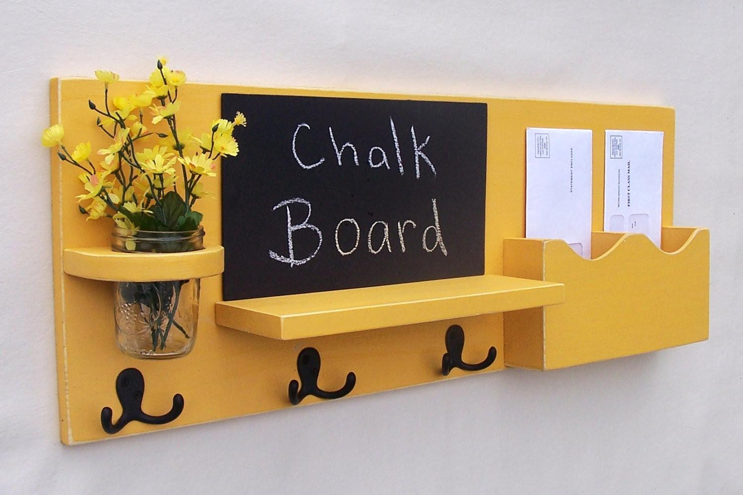 Chalkboard Mail Organizer Coat Rack Holder