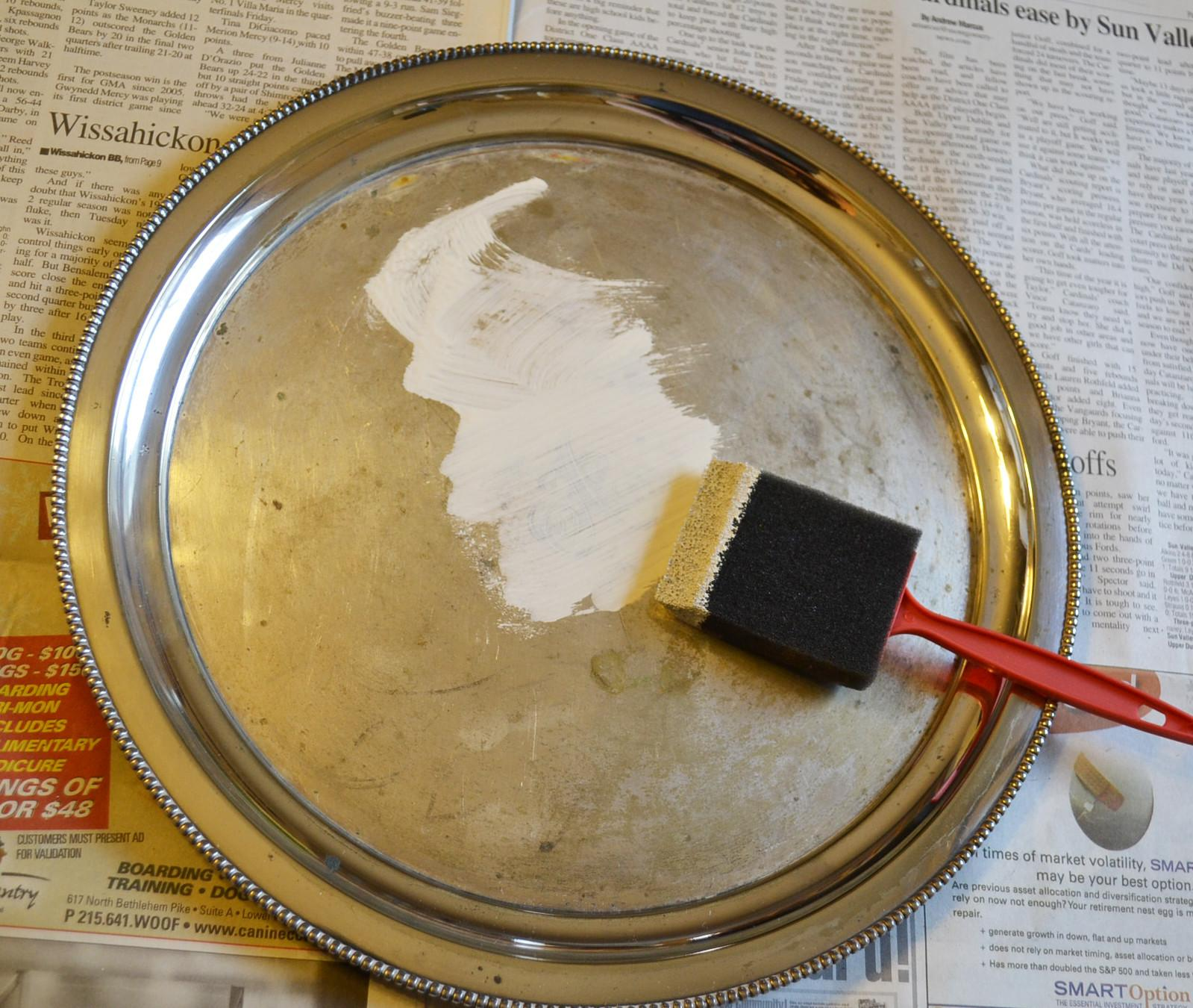 Chalkboard Paint Silverplate Tray Easy Diy Project