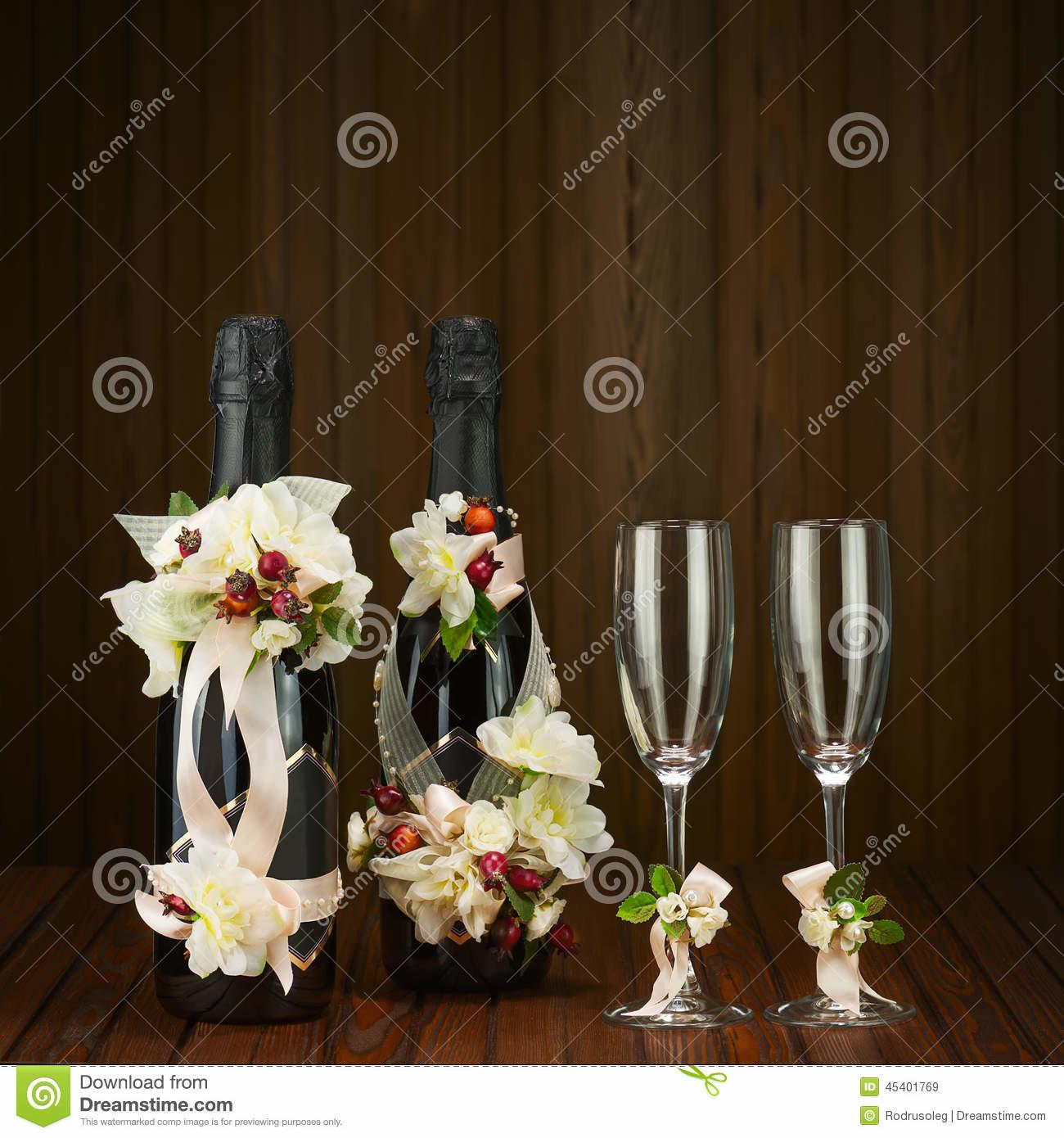 Champagne Bottles Glass Wedding Decoration