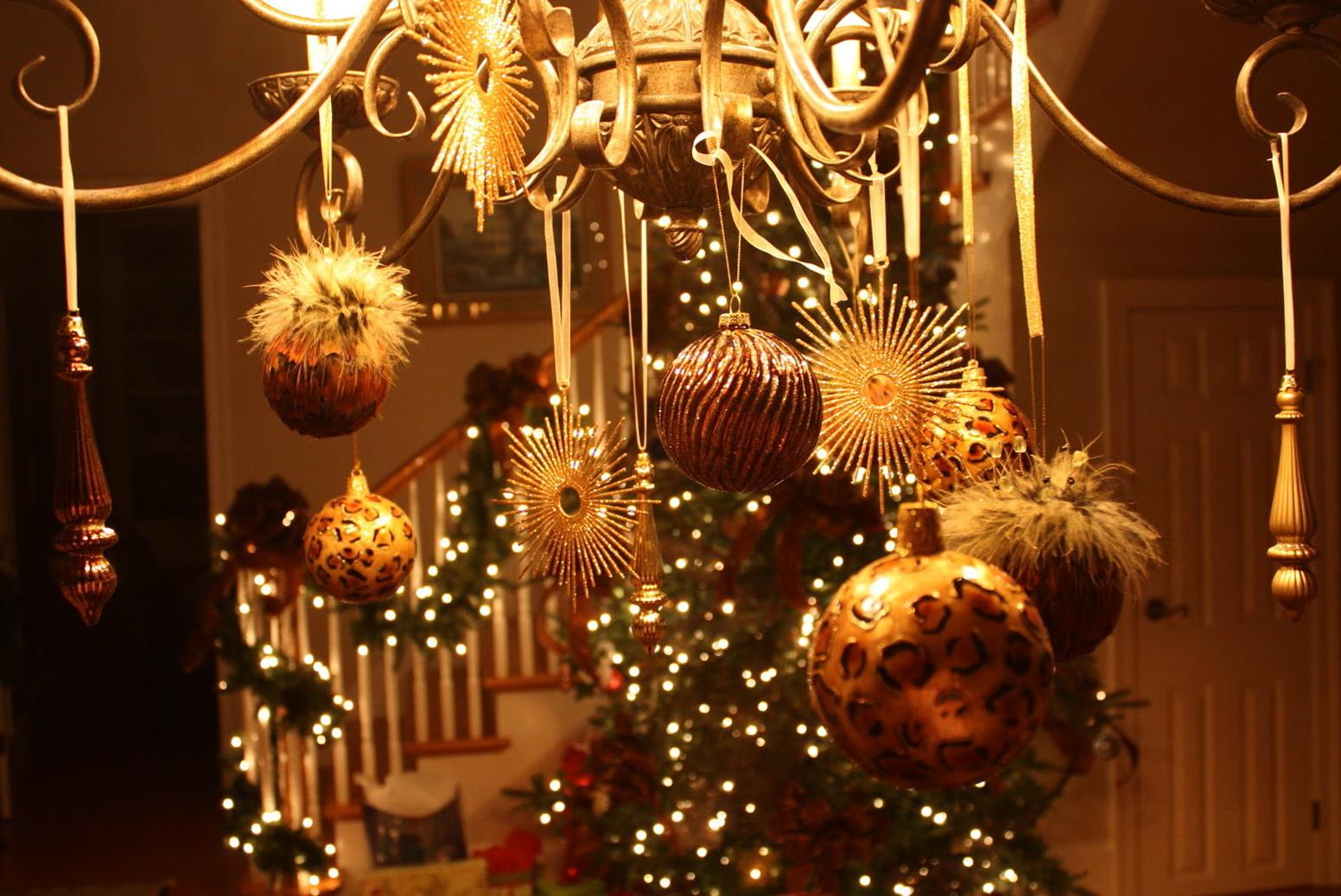 Chandeliers Decorated Christmas Home