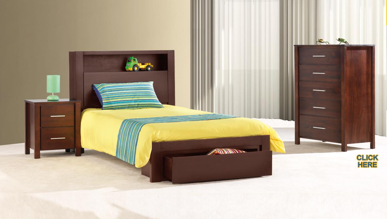 Charlie Single Kids Timber Bookend Storage Bed