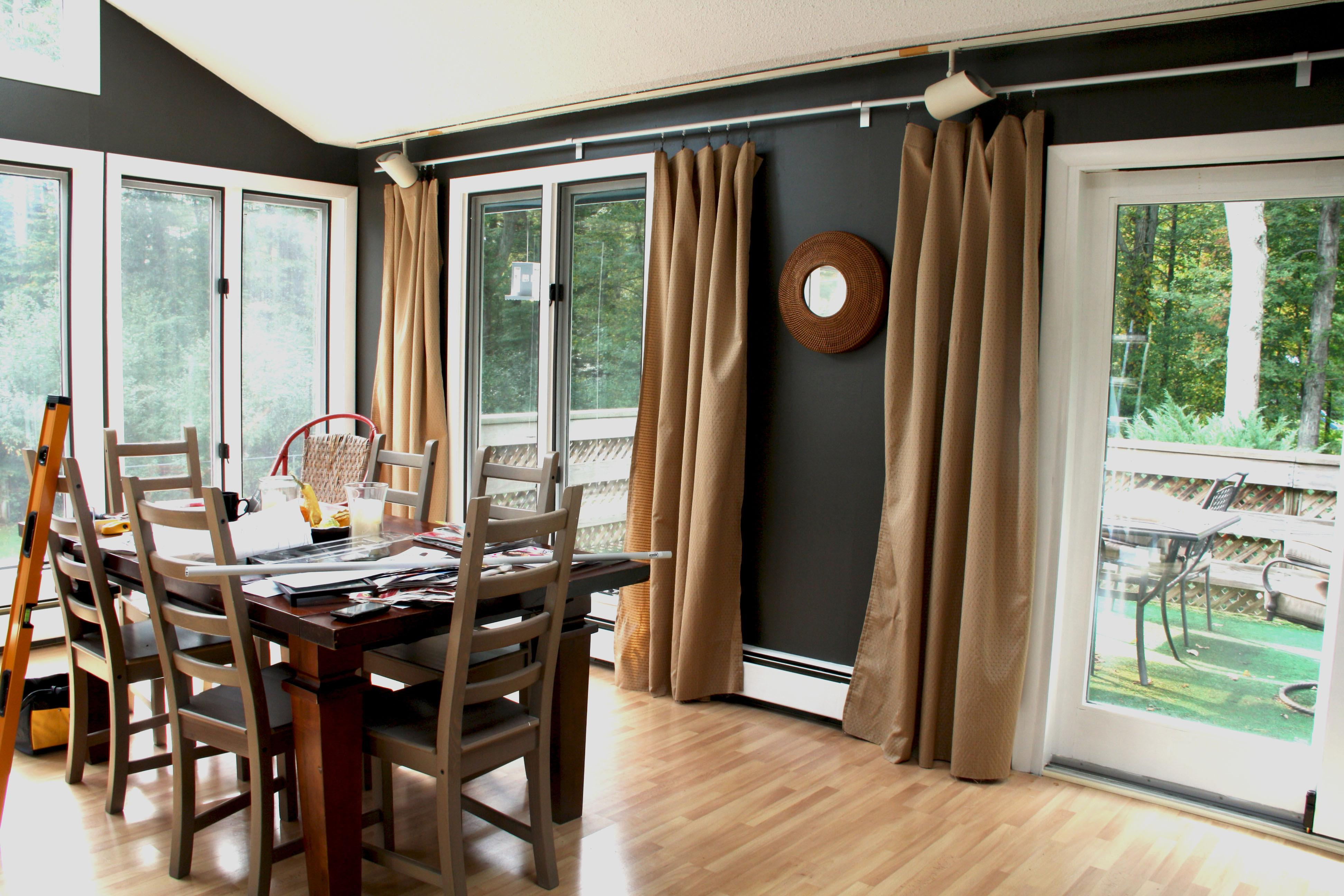 Charming Brown Fabric Sliding Dining Room Curtains