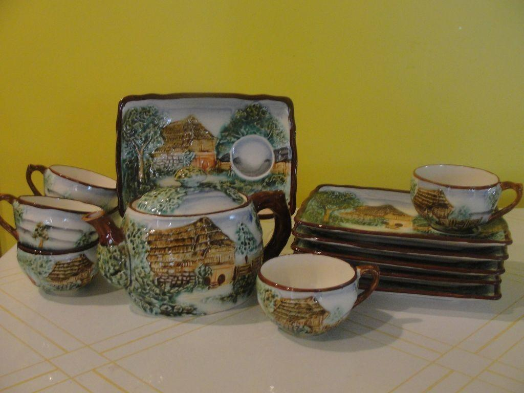 Charming Country Cottage Tea Pot Cups Plates