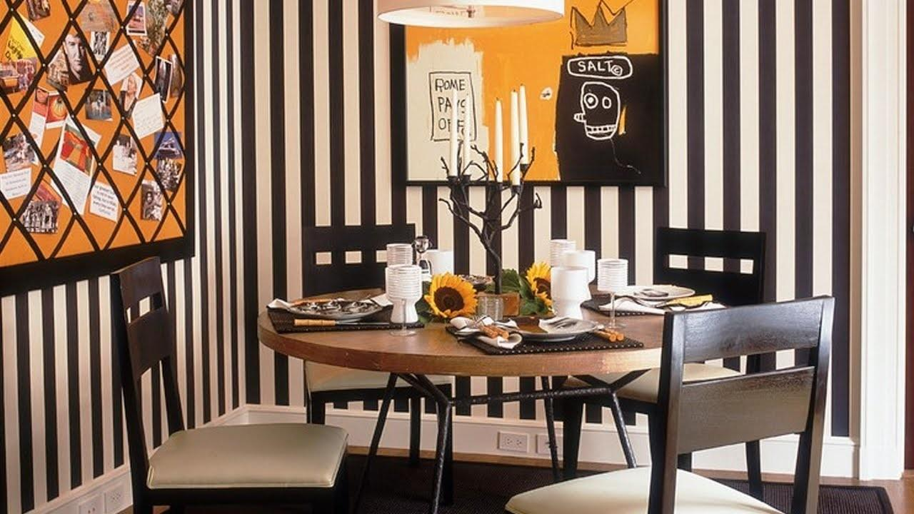 Charming Dining Room Designs Striped Walls