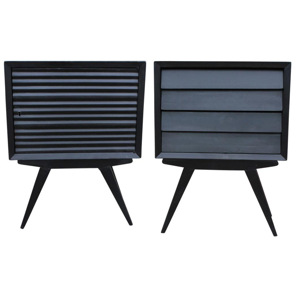 Charming Pair Black Louvered Nightstands