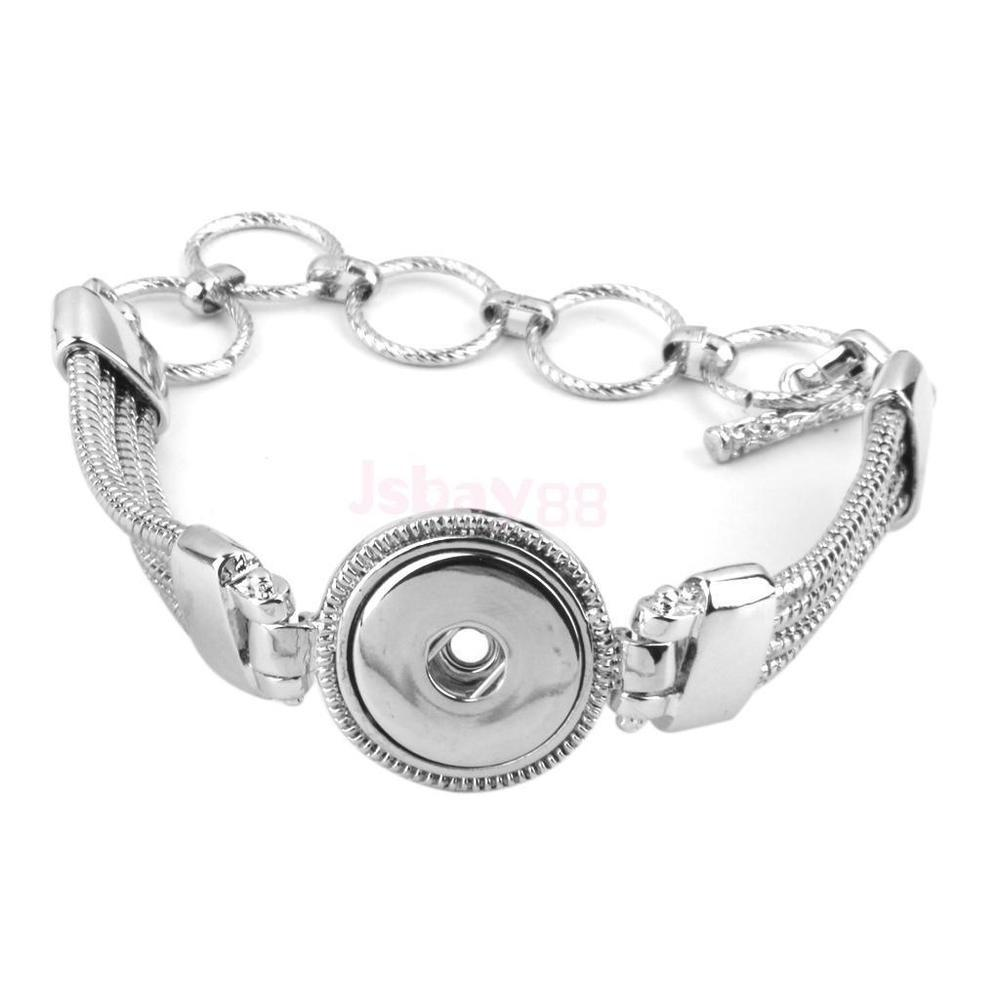 Charms Silver Bracelet Fit Diy Snap Button Circular Round