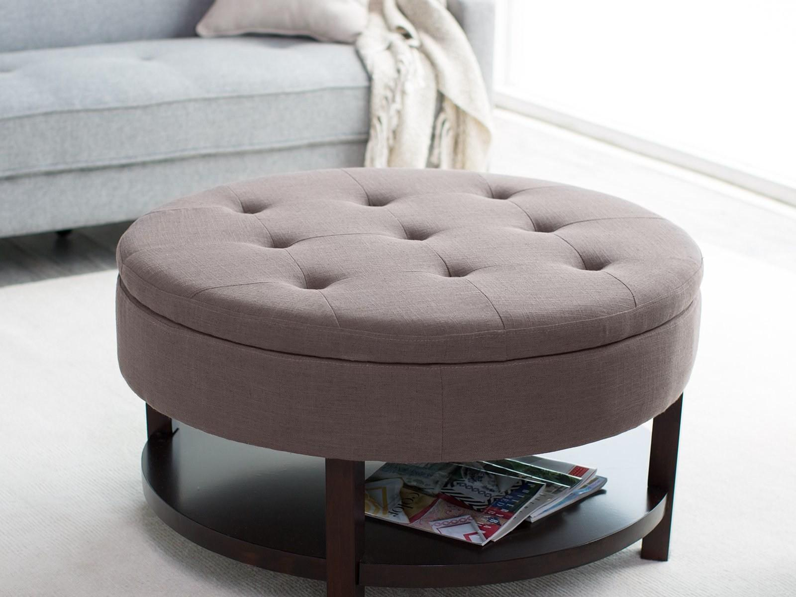 Cheap Simple Round Upholstered Ottoman Coffee Table Diy