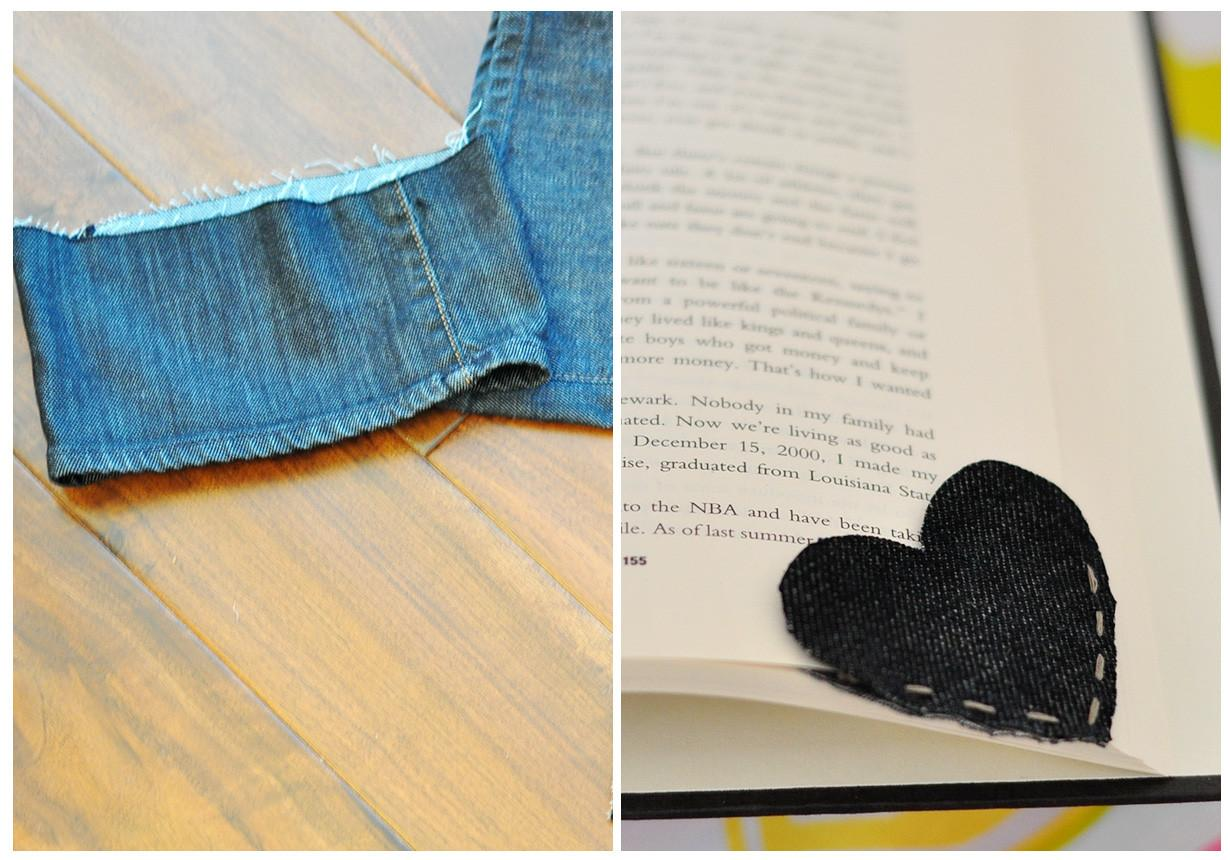Cheese Thief Old Denim Corner Heart Bookmark