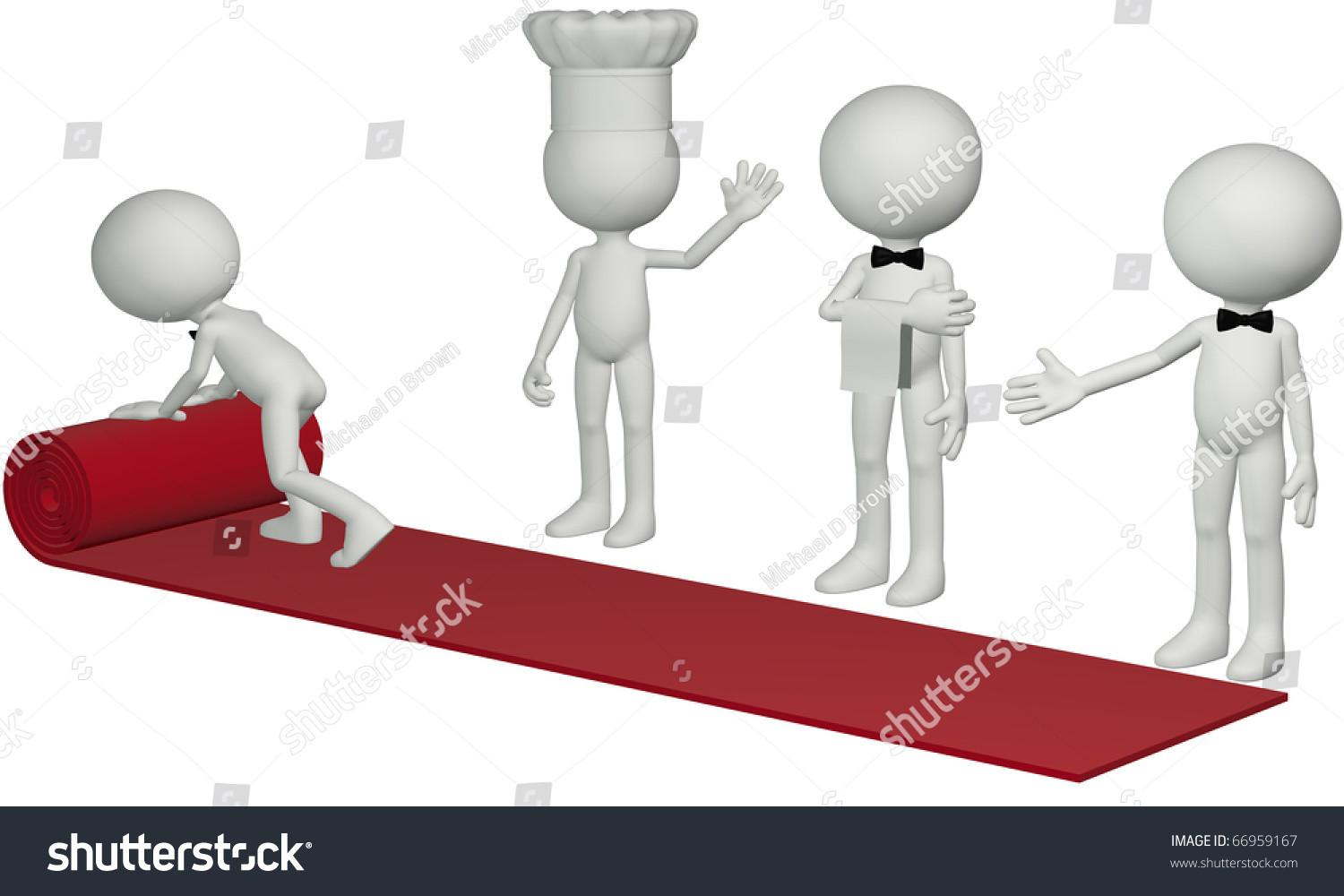 Chef Waiter Concierge Roll Out Stock Illustration