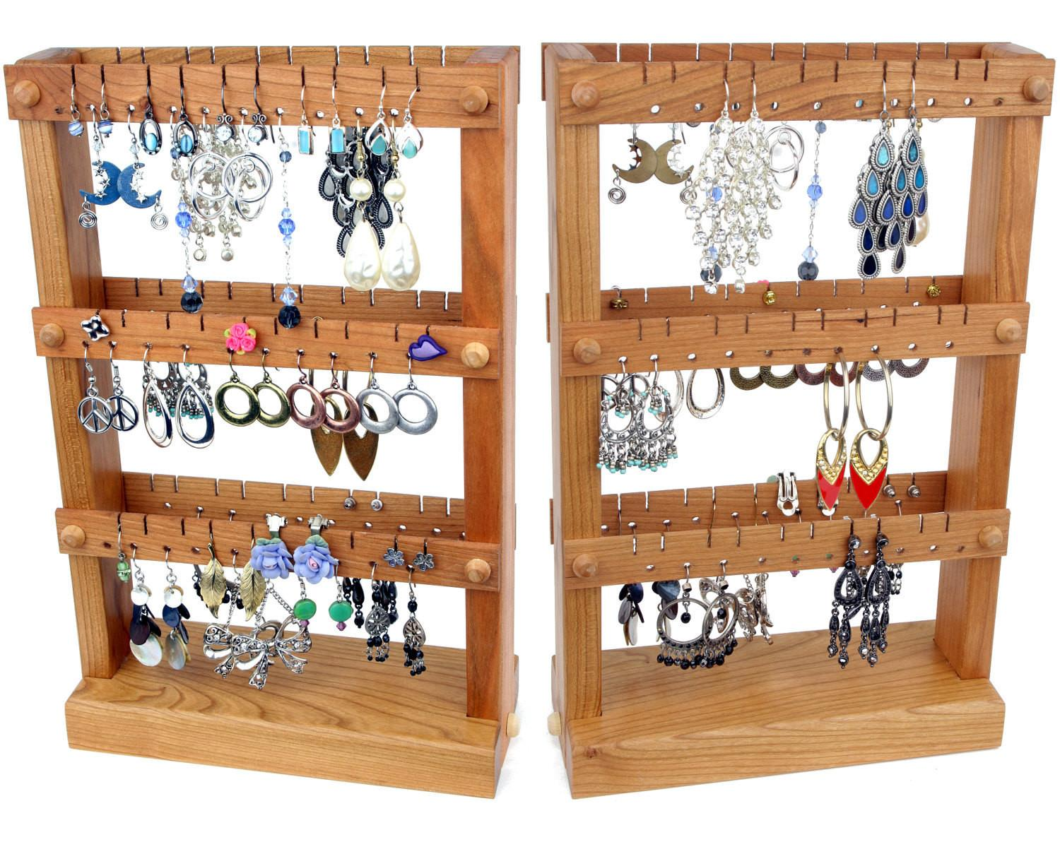 Cherry Wooden Jewelry Organizer Display Stand
