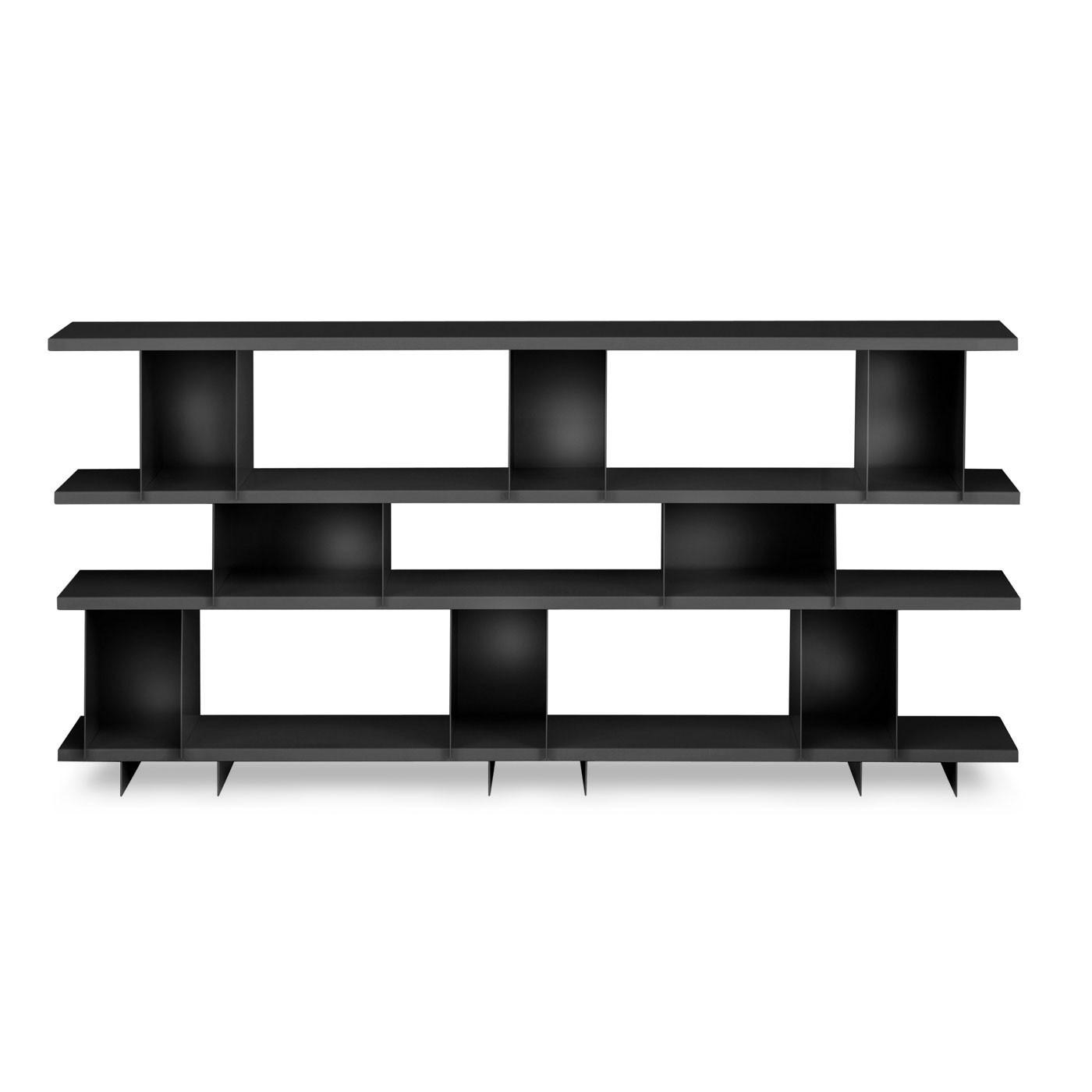 Chic Black Painted Hardwood Modern Wall Shelves