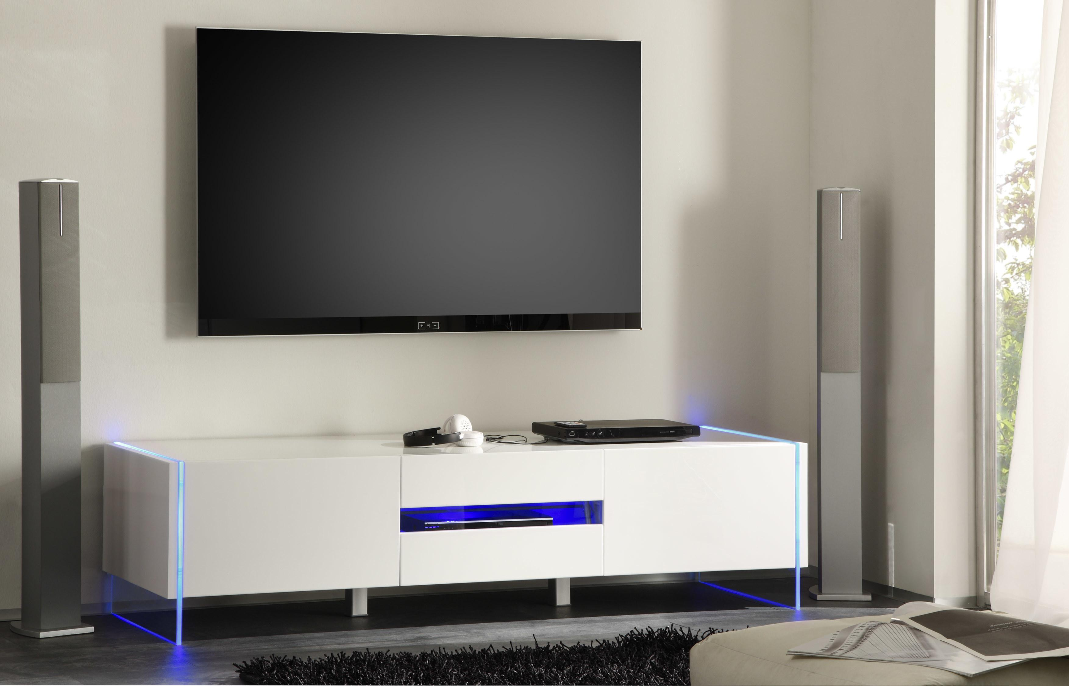 Chic Contemporary White Glossy Stand Base Led