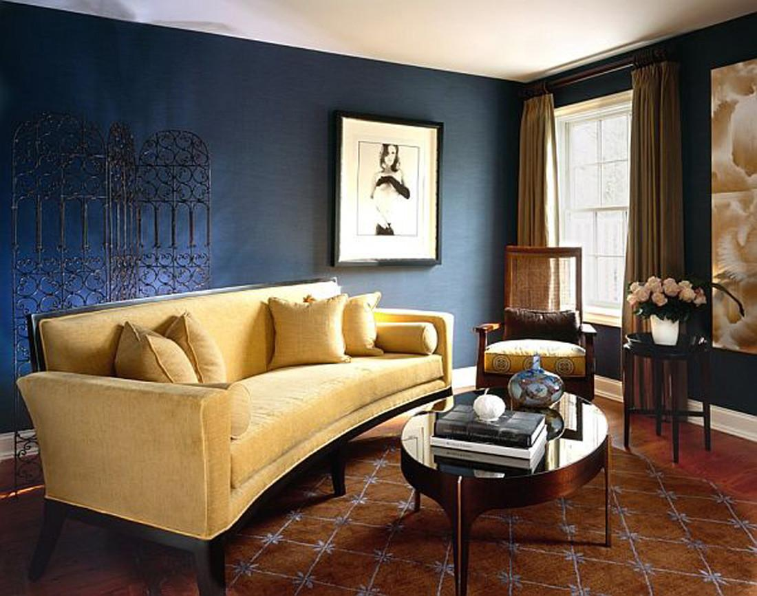 Chic Living Room Stylish Interior Navy Rooms Theme