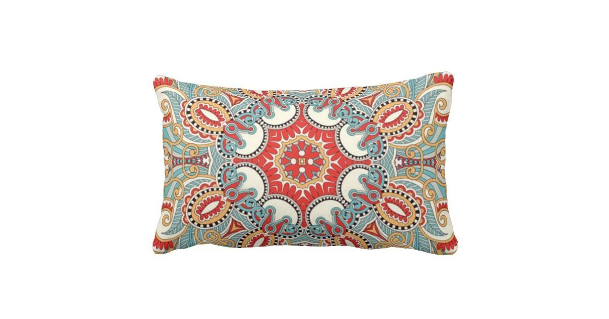 Chic Retro Red Turquoise Teal Kaleidoscope Pattern Lumbar