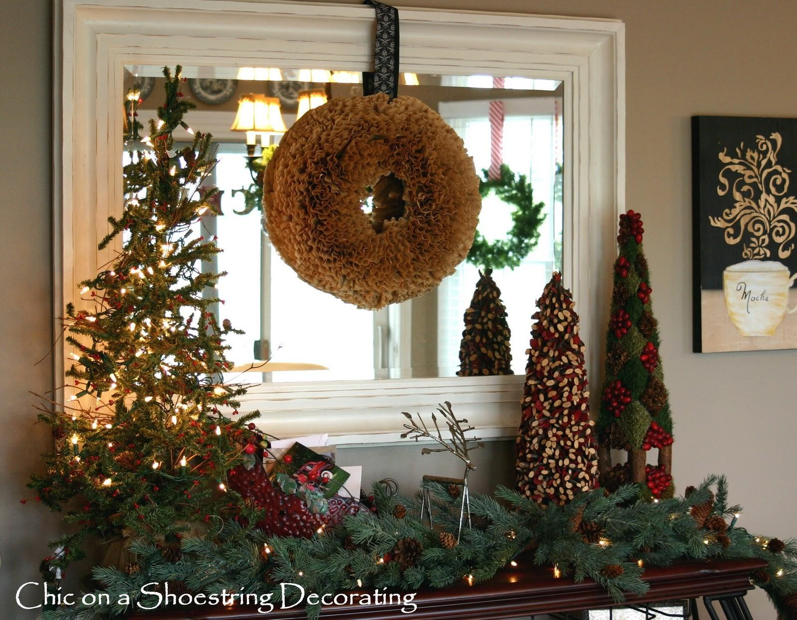 Chic Shoestring Decorating Rustic Christmas Vignette