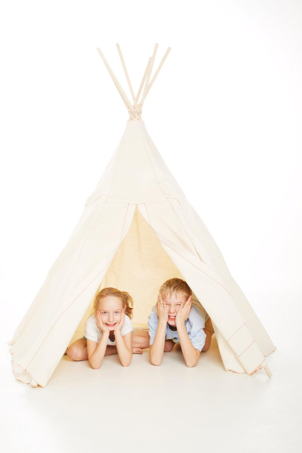 Children Teepee Kids Play Tent Natural Canvas