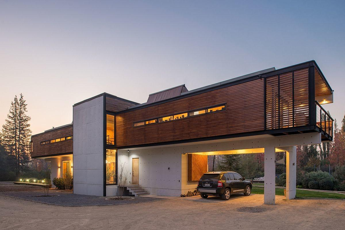 Chilean Home Striking Exterior Cantilevered Top Level