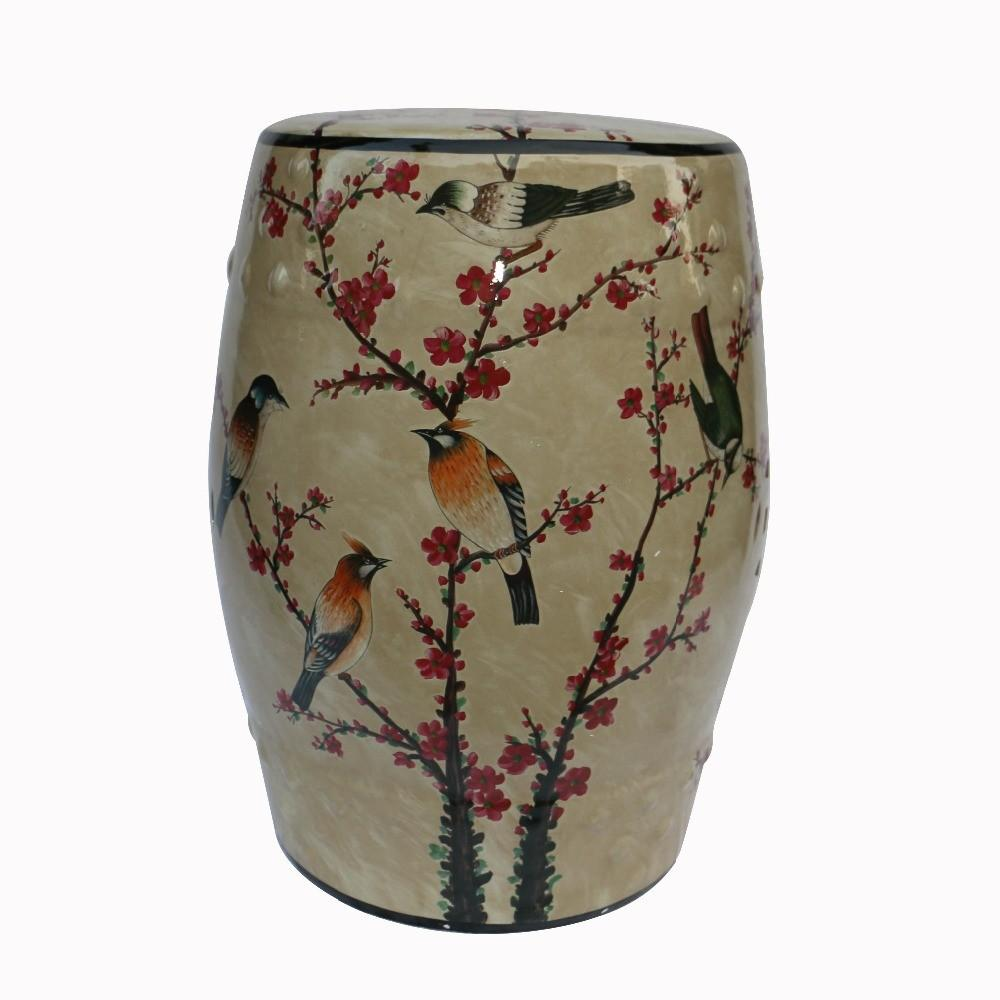 Chinese Antique Style Flower Bird Design Ceramic Stool