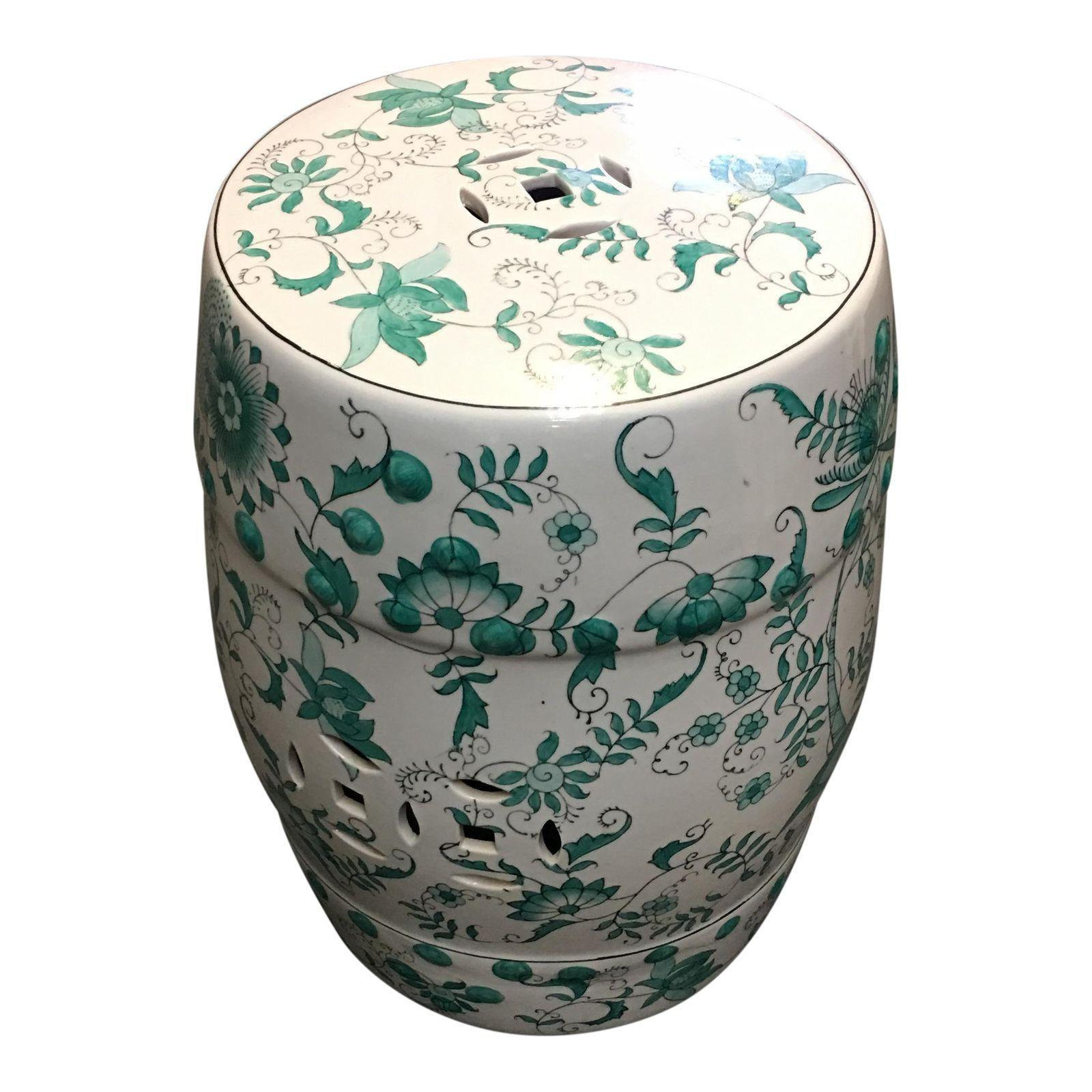 Chinese Green White Garden Stool Design Plus