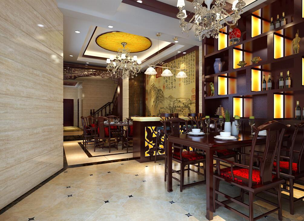 Chinese Neo Classical Style Villa Dining Room Interior