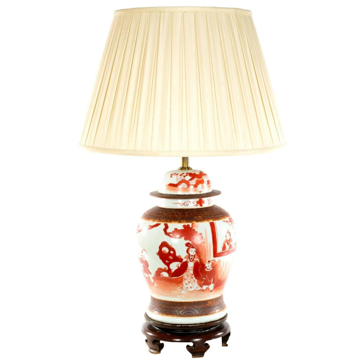 Chinese Red Painted Baluster Vase Lamp Sale 1stdibs