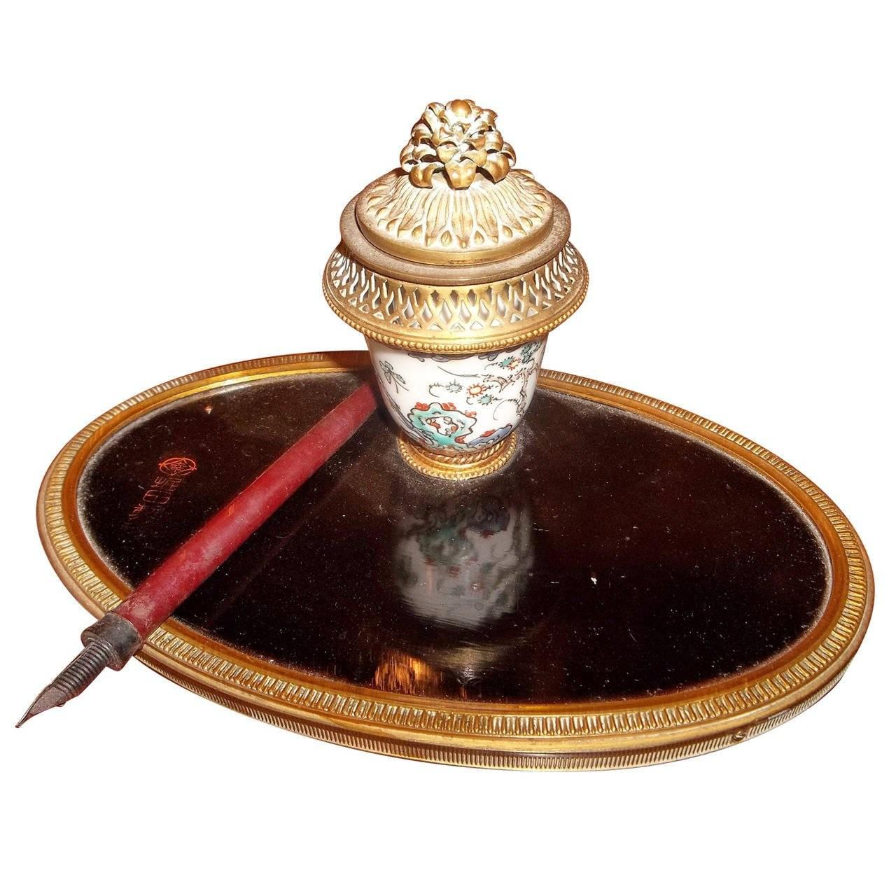 Chinoiserie Japanned Louis Xvi Style Inkwell 1stdibs