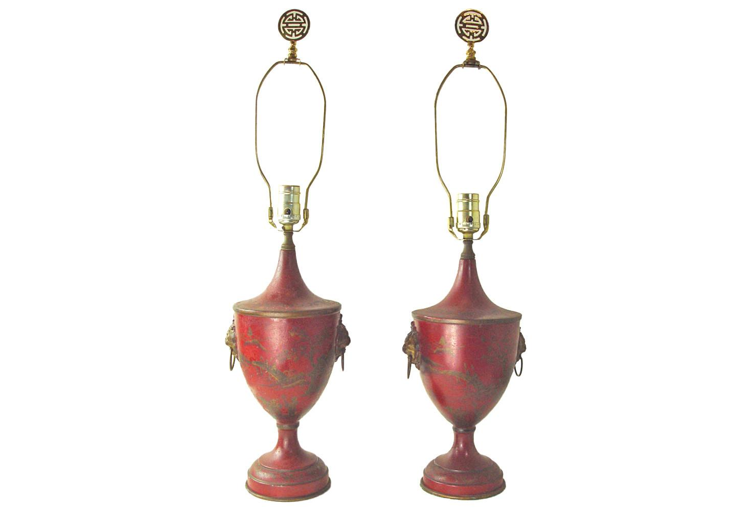 Chinoiserie Tole Painted Red Gold Lamps Pair Omero Home