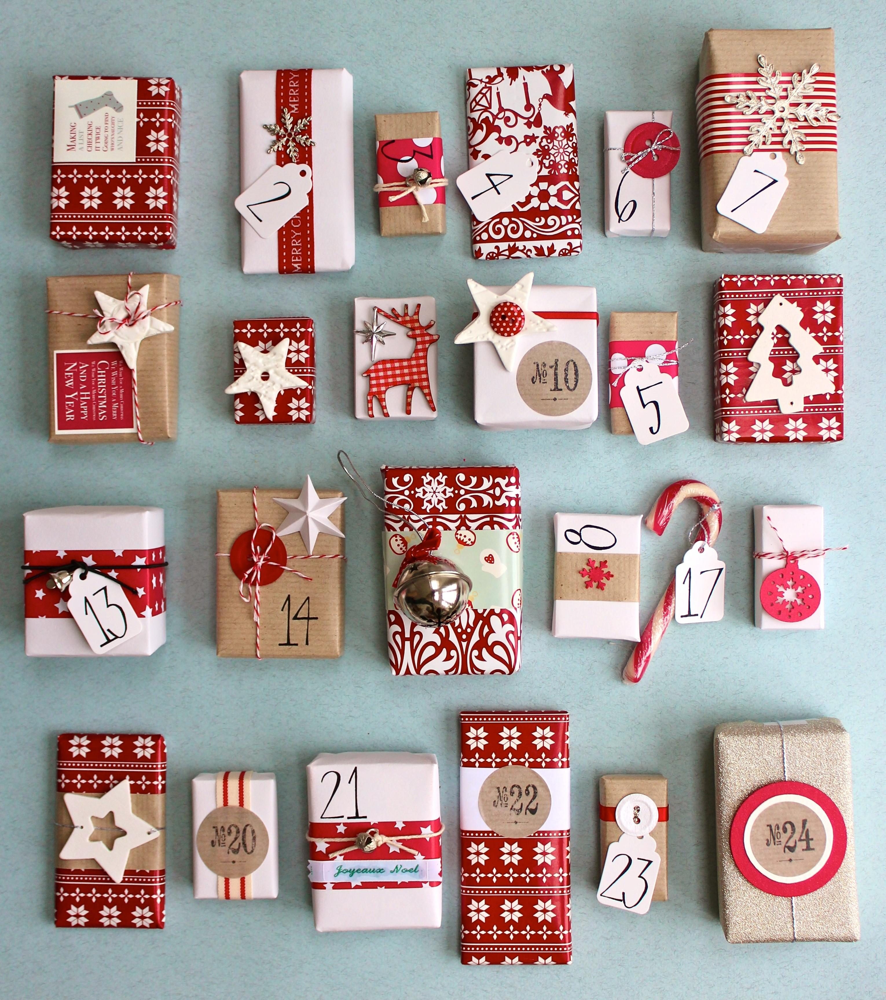 Christmas Advent Calendar Red White Kraft Paper
