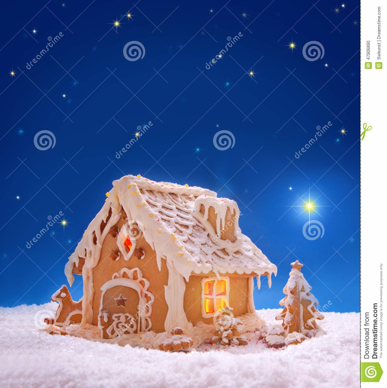 Christmas Card Holiday Gingerbread House Stock