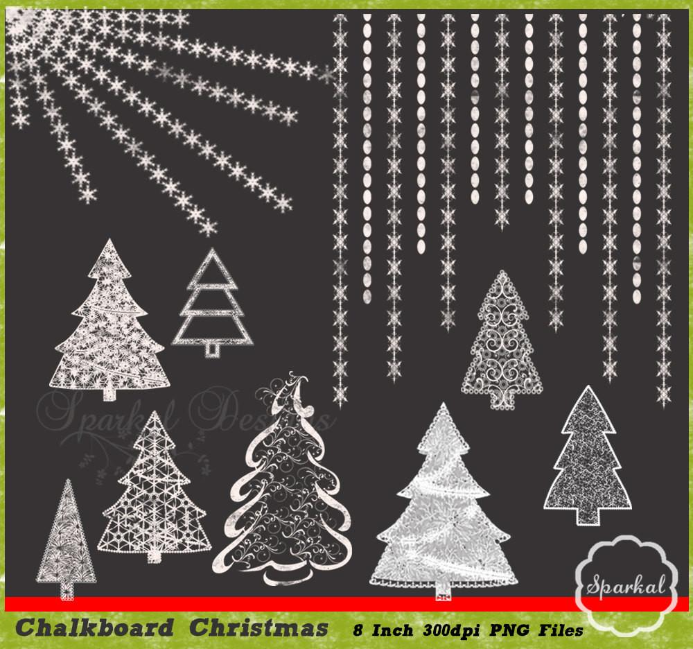 Christmas Clipart Chalkboard Trees Great Invitations