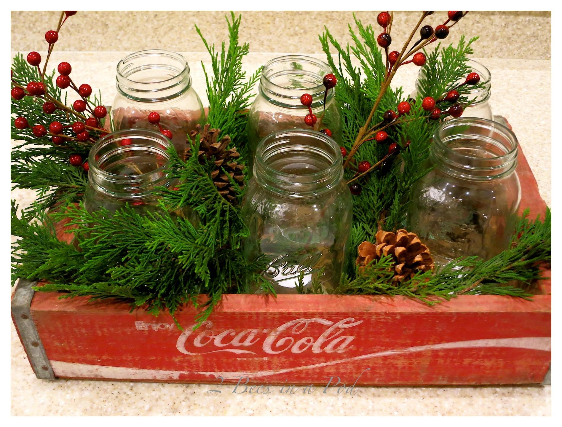Christmas Coke Crate Centerpiece Bees Pod