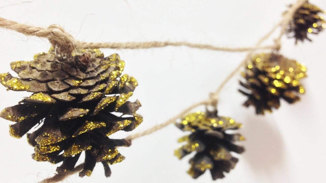Christmas Decor Diy Gold Pine Cone Garland