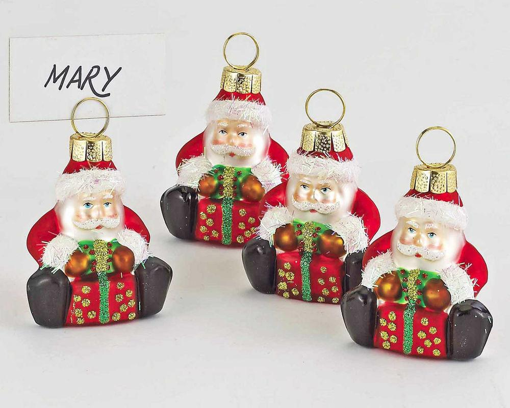 Christmas Decorations Glass Santa Place Card Holder Set