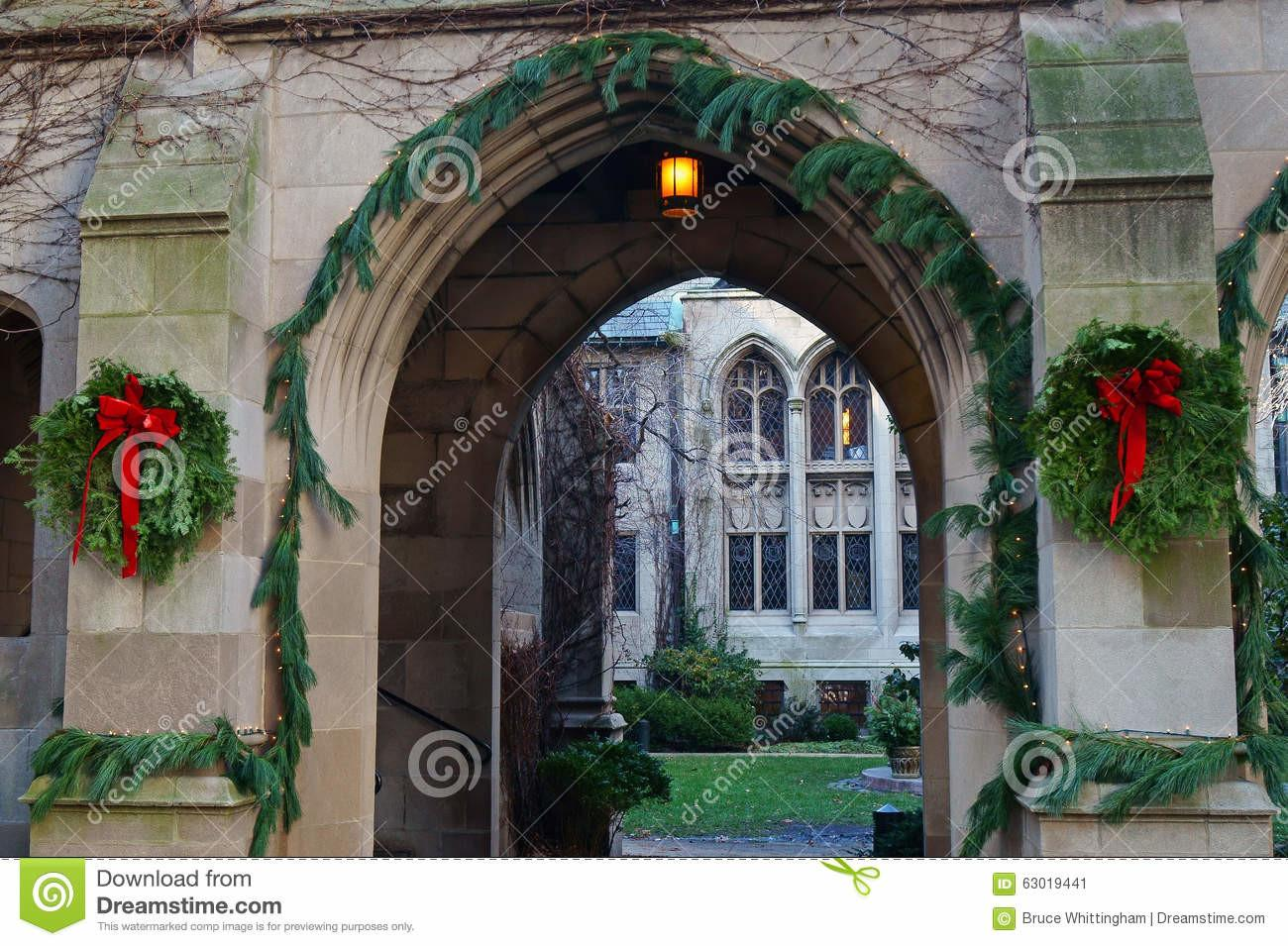 Christmas Decorations Old Sandstone Building Stock