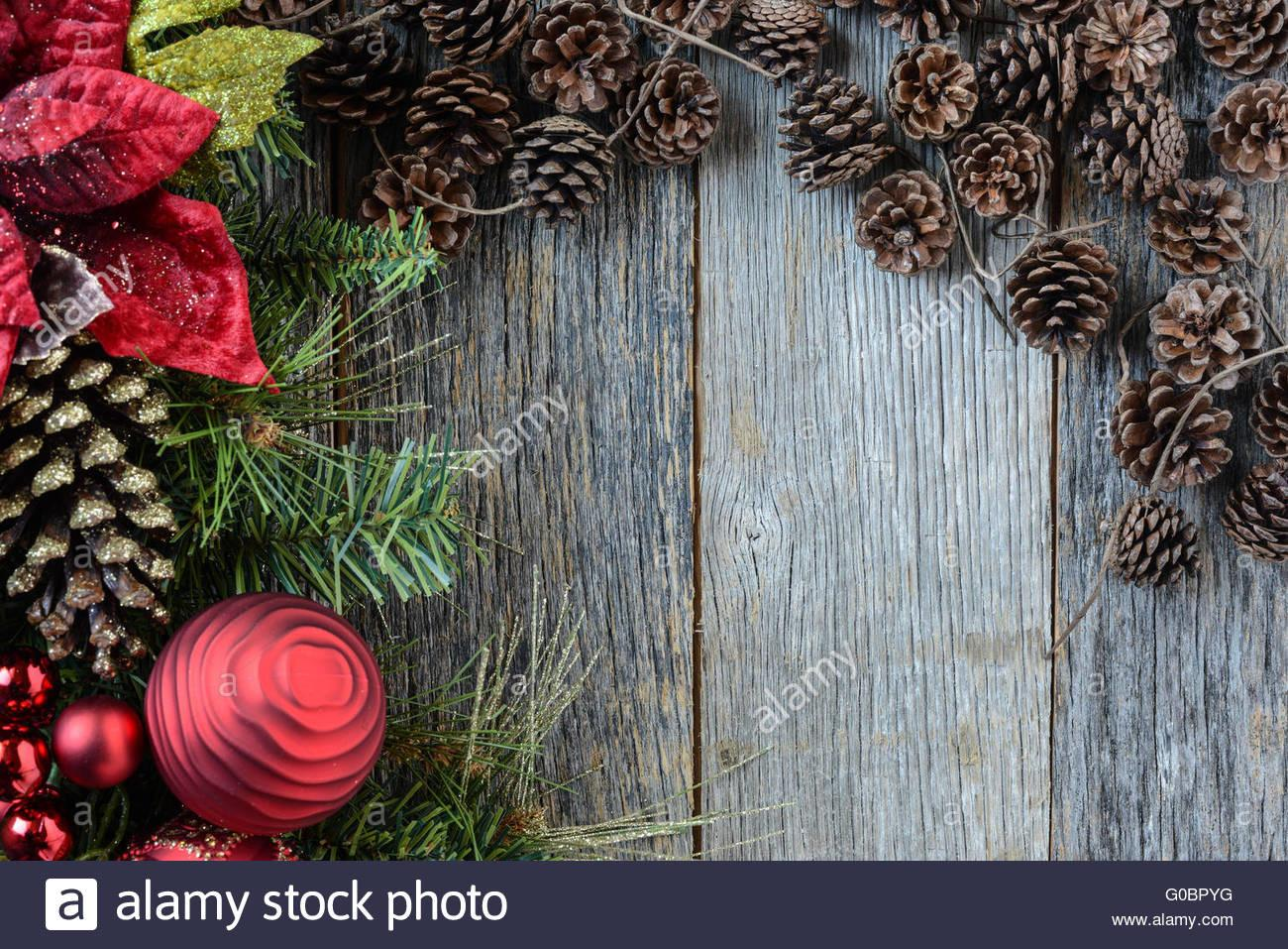 Christmas Decorations Pine Cones Rustic Wood