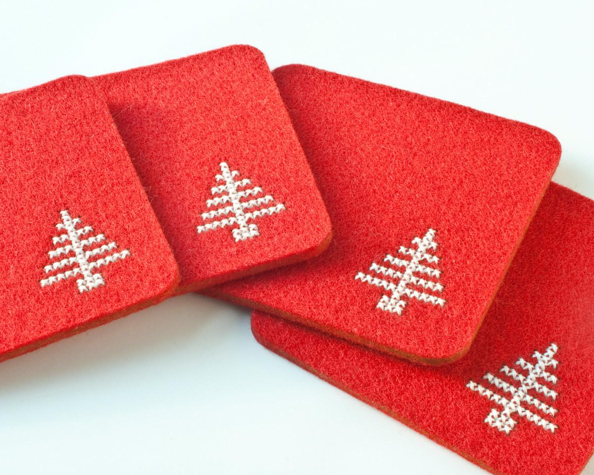 Christmas Diy Coaster Kit Cross Stitch Felt Set