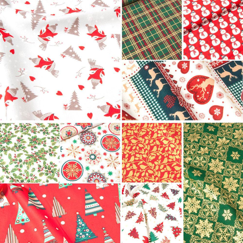 Christmas Fabric 100 Cotton Metre Holly Santa Trees