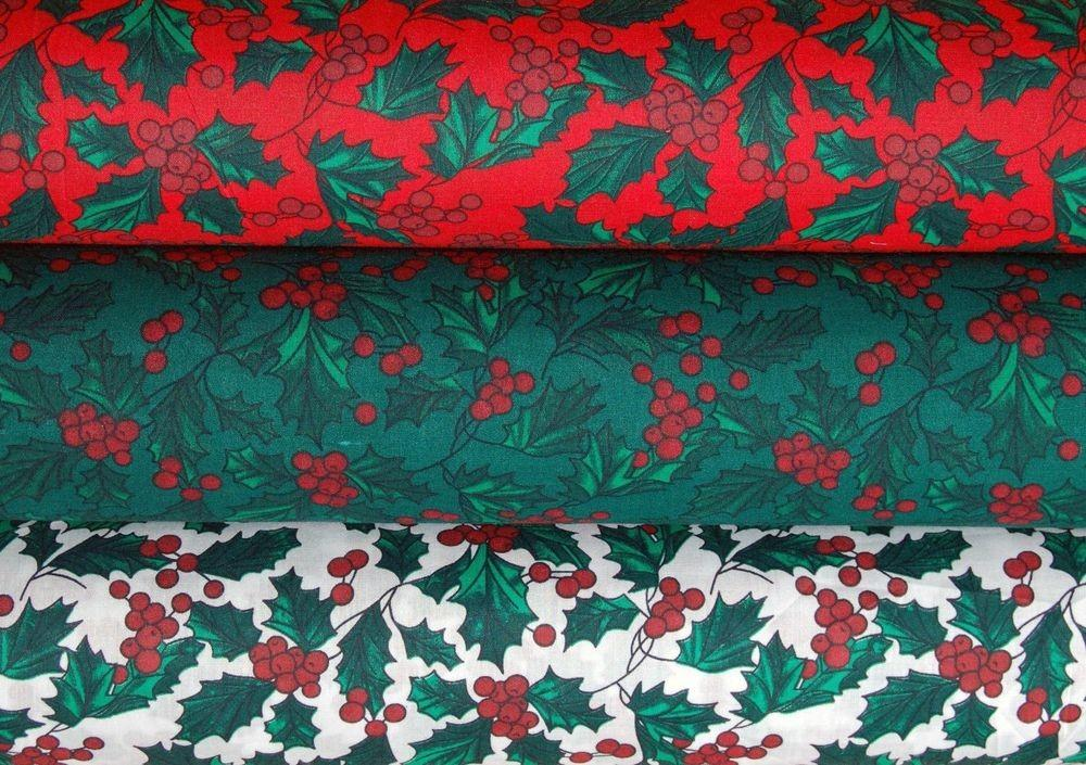 Christmas Fabric Holly Berries Crafts Sewing Green