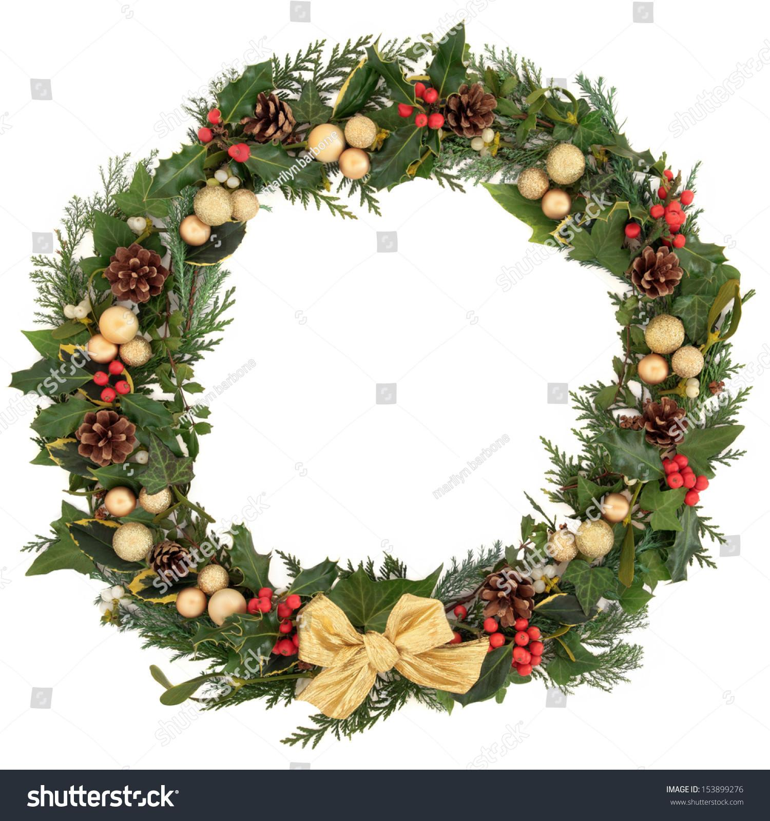 Christmas Floral Wreath Decoration Baubles Gold Stock