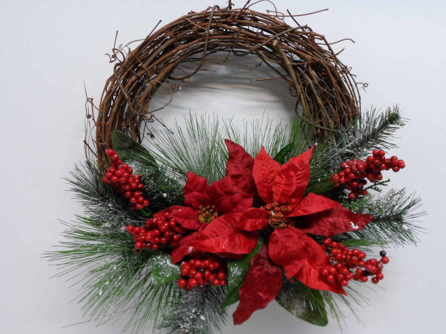 Christmas Grapevine Wreath Red Poinsettia