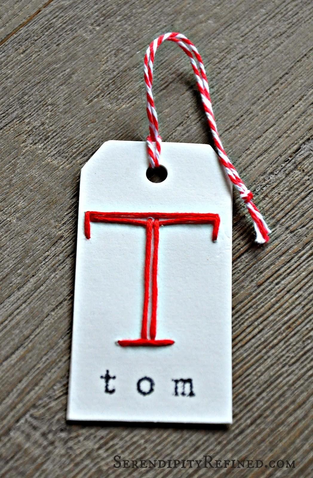 Christmas Holiday Personalized Monogram Gift Tag Craft
