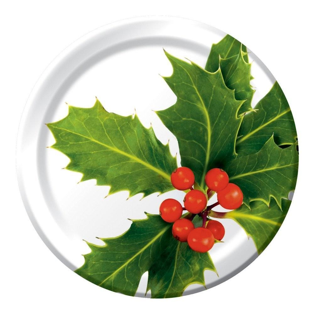 Christmas Holly Paper Plates