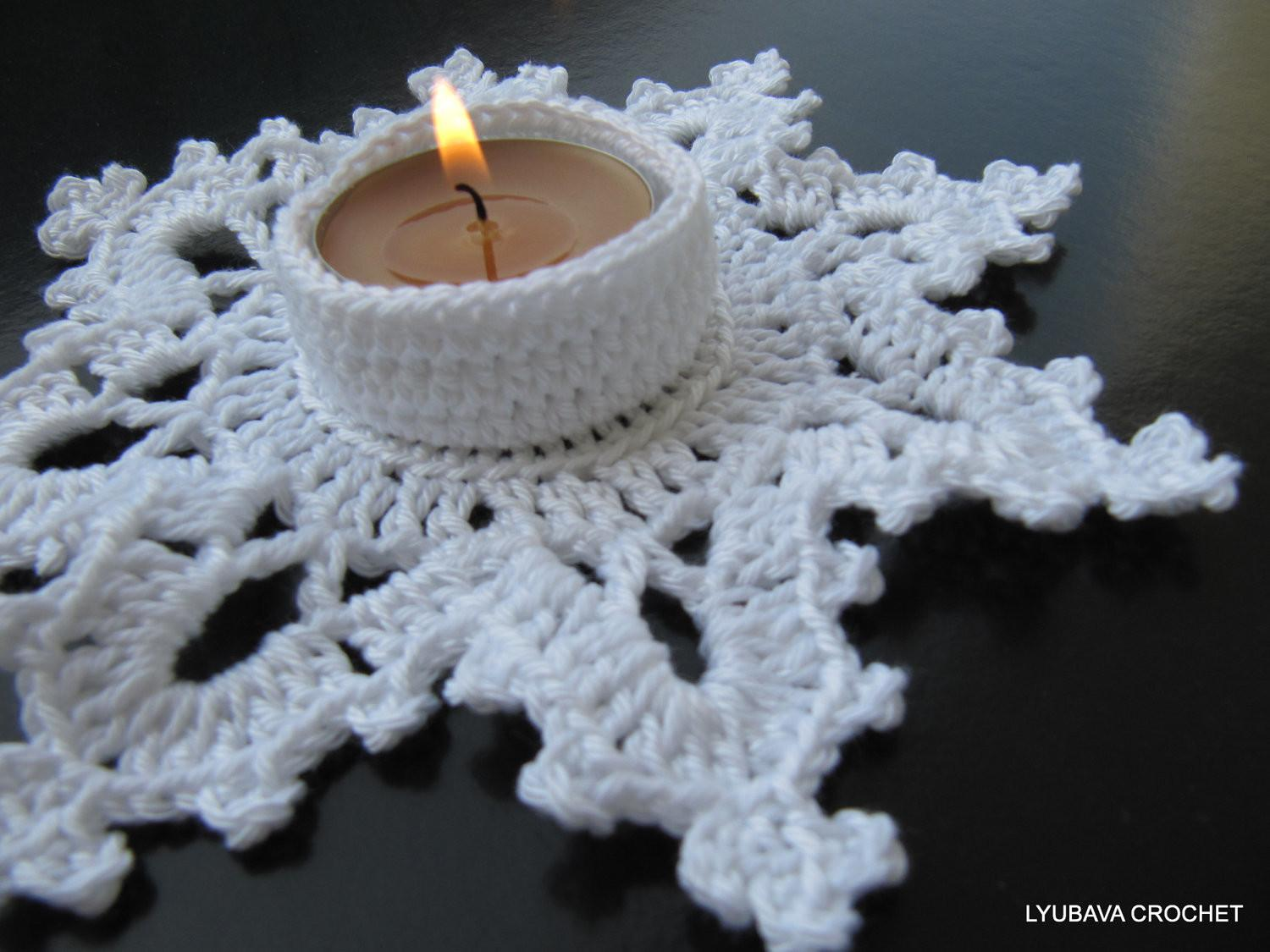 Christmas July Tea Light Holder Crochet Pattern Candle
