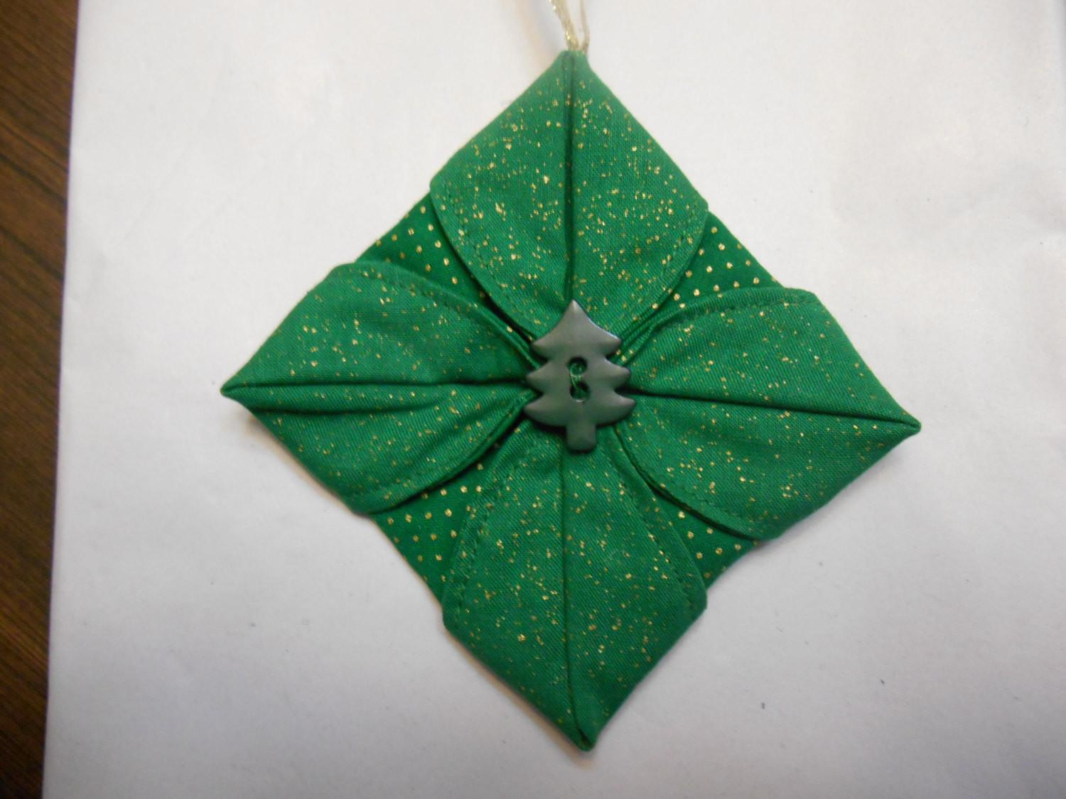 Christmas Ornament Folded Star Fabric Loonmtembroidncrafts