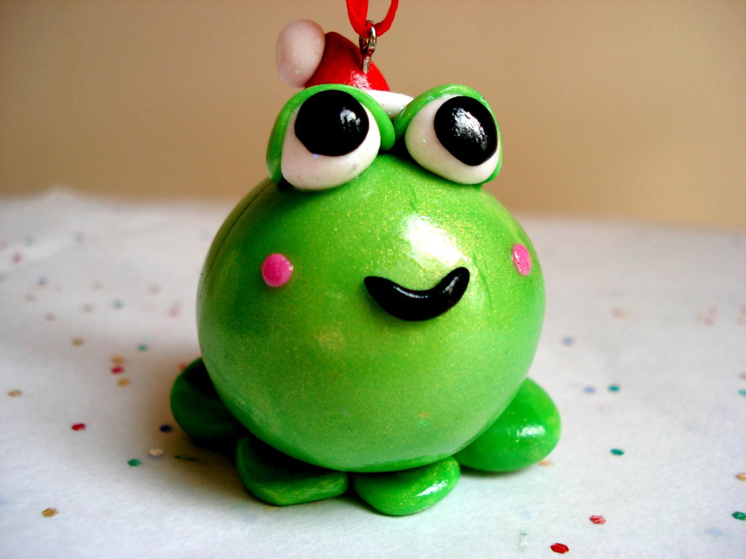 Christmas Ornament Frog Santa Hat Polymer Clay