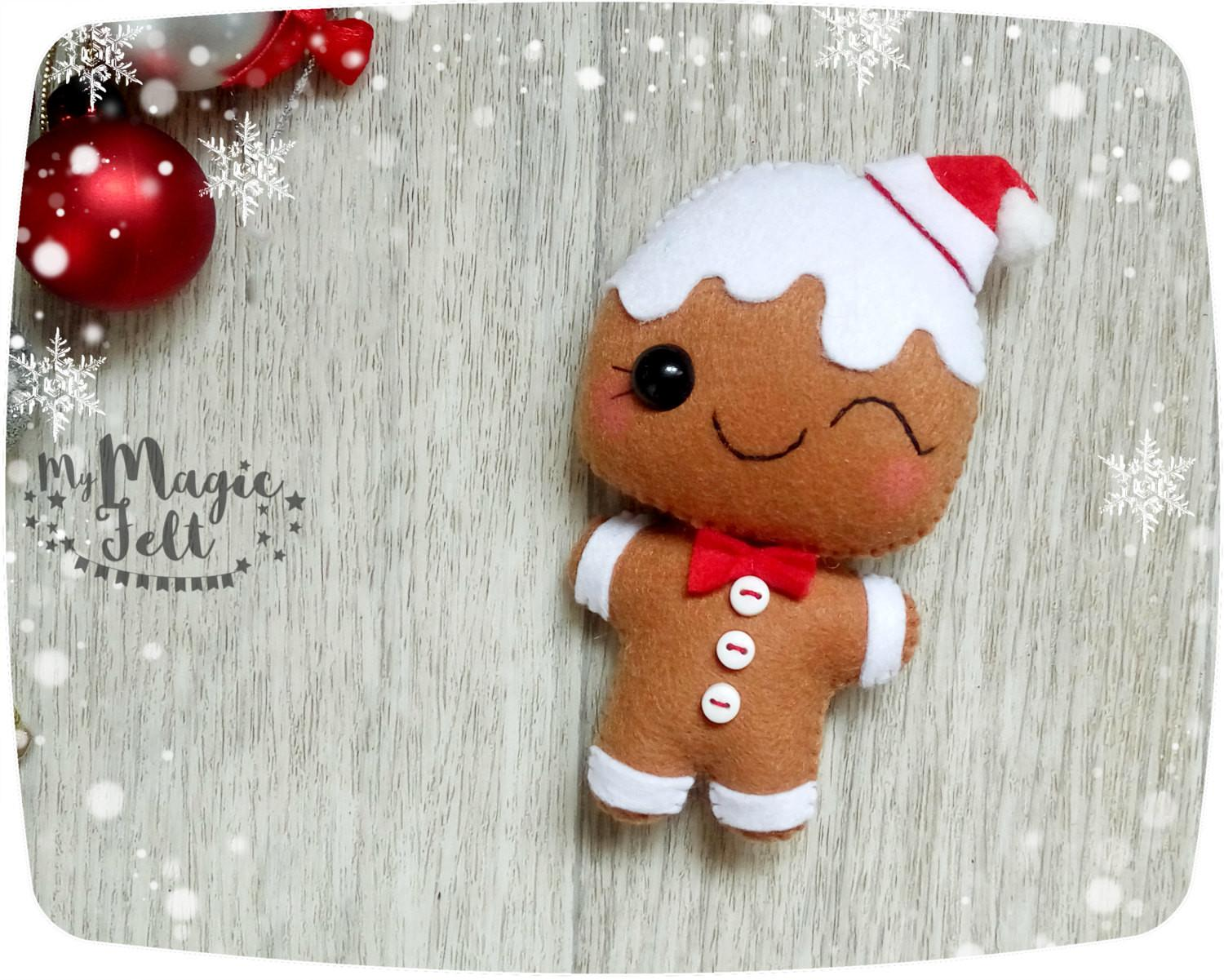 Christmas Ornaments Felt Gingerbread Man Decorations